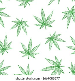 Marijuana Leaves Vector Seamless Background Pattern. Hand Drawn Hemp Sketches. Cannabis Card, Wrapping, Wallpaper or Cover Template.
