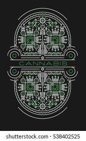 Marijuana line art illustration with decorative elements
