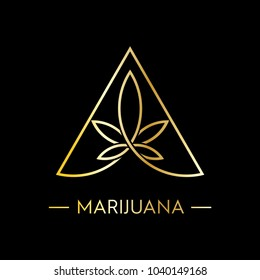 marijuana logo vector in gold