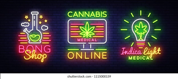 Marijuana Medical Logos collection Neon Vector. Cannabis Online, Bong Shop, Indica concept, Marijuana smoking, storing and growing cannabino medical equipment, light banner. Vector illustration