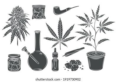 Marijuana monochrome glyph isolated vector icon set, hemp leaves and seeds, cannabis bud. Smoking cannabis pipe, cigarette, buds indica marijuana, joint, glass jar, tobacco and plastic bag.