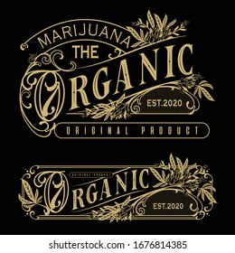 logo orgánico de marihuana con letras de diseño clásico