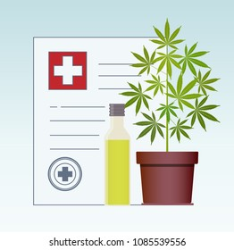 Marijuana plant and cannabis oil. Hemp oil in a glass jar mock up. CBD oil hemp products. Medical marijuana in Healthcare a prescription for medical marijuana. Certificate. Safety. Quality. Vector.