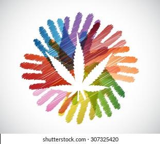 marijuana plant over diversity hands circle illustration design concept