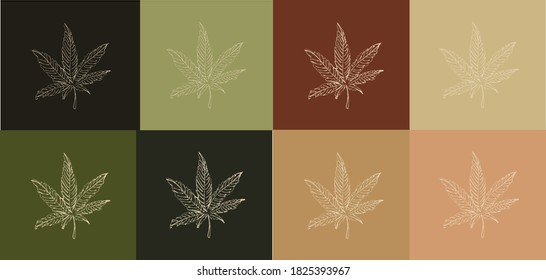 Marijuana seamless pattern cannabis vector weed leaf scarf isolated repeat wallpaper tile background