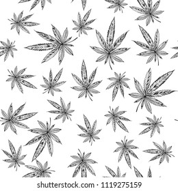 Marijuana Seamless pattern. Cultivation and culture of cannabis use.