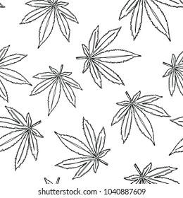 Marijuana seamless pattern. Marijuana icon. Cannabis leaf vector illustration isolated on white. Medical cannabis sign.