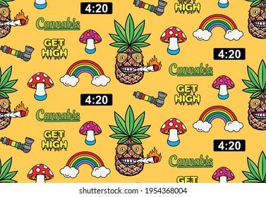 Marijuana Seamless Pattern. Sticker skate. Vector illustration.
