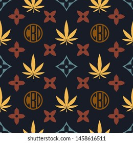 Marijuana seamless pattern. Vector illustration background. Cannabis leaf. Tile background. For web, packaging, wrapping, fashion, decor, surface, graphic design