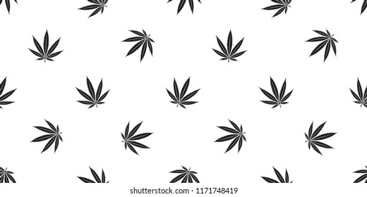 Marijuana seamless pattern Weed vector cannabis leaf scarf isolated repeat wallpaper tile background white