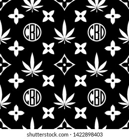 Marijuana seamless pattern. White on black Weed vector wallpaper. Cannabis leaf. Tile background. Vector illustration. For web, packaging, wrapping, fashion, decor, surface, graphic design