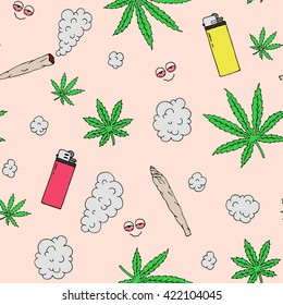 Marijuana seamless vector pattern