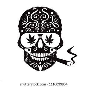 Marijuana skull icon smoking