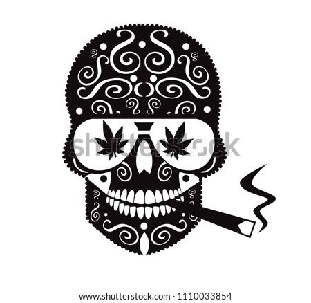 Marijuana Skull Icon Smoking Vector De Stock Libre De Regalías
