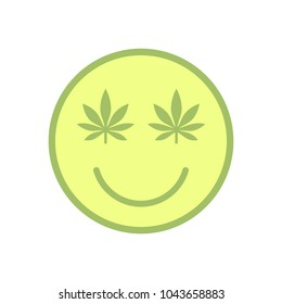 Marijuana smiley Face. Cannabis smile. Smiling face made of weed leaves. Drug consumption, marijuana use. Marijuana Legalization. Medical cannabis. Health and Medical therapy. Isolated vector.