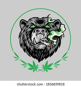 Marijuana Smoke Scary Bear Weed Mascot Logo for your work merchandise clothing line and poster, Logo advertising business company or brands