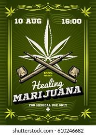 Marijuana smoker, weeds, drug warning vector background. Drug cannabis for medical use, illustration of banner healing cannabis