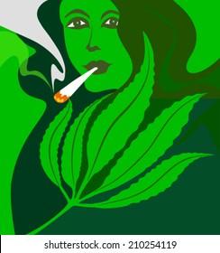 marijuana smoking woman
