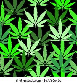 Marijuana vector illustration  Cannabis Culture pattern on black background