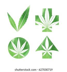 Marijuana watercolor signs. Vector illustration