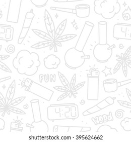 Marijuana weed cartoon seamless vector pattern white and grey