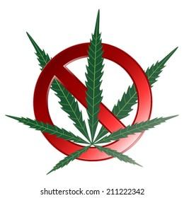 Marijuana (weed, hemp) is forbidden. Vector illustration.