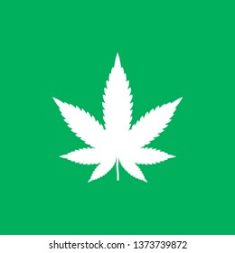Marijuana weed leaf pot vector icon cannabis symbol. Modern simple flat vector illustration for web site or mobile app
