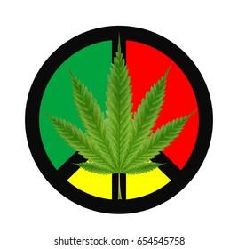 marijuanas leaf on a red green yellow peace logo