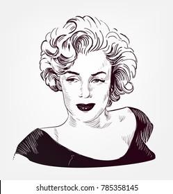 marilyn monroe vector sketch illustration
