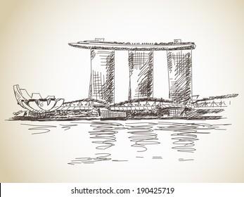 Marina Bay Sands hotel in Singapore Vector sketch