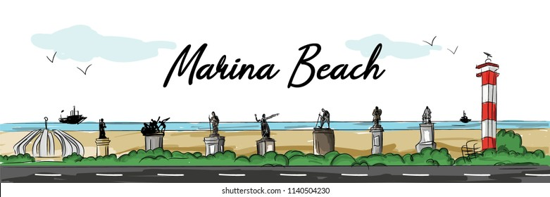 Marina Beach Illustration, chennai.