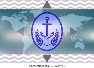 Marine anchor symbolic image. Element ship framed by laurel leaves on the background of an unfolded map of the world.