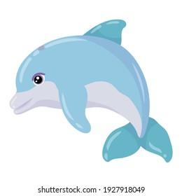 Marine Animal. Cute blue dolphin. Marine mammal. Vector illustration isolated on white background