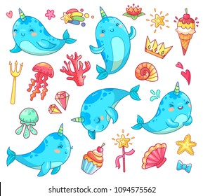 Marine animal kawaii character baby fairytale unicorn narwhal. Swimming colorful blue funny cute horn anime whale vector cartoon clipart