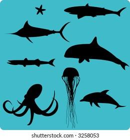 Marine animal silhouettes