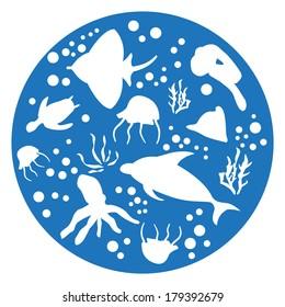 marine animals blue Circle