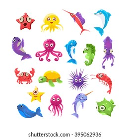Marine Animals Collection Of Isolated Flat Childish Colorful Vector Icons On White Background