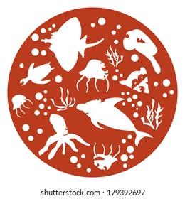marine animals red Circle