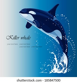 Marine background with a killer whale jumping out of the water, blue tone