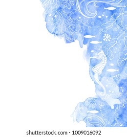 Marine background with seahorse and plants.  Vector illustration with place for text on and  blue watercolor element. Invitation, greeting card or an element for your design.