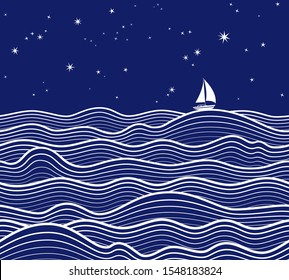 Marine background. Seamless horizontally. Night sea landscape with yacht, sea waves and starry sky. Vector illustration.
