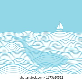 Marine background. Seamless horizontally. Sea landscape with yacht, sea waves and whale. Vector illustration.