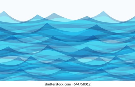 Marine background with stylized blue waves. Water Wave abstract design.