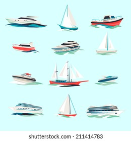Marine boats cruise sea travel yacht motor vessels flat icons set with jet cutter abstract isolated vector illustration