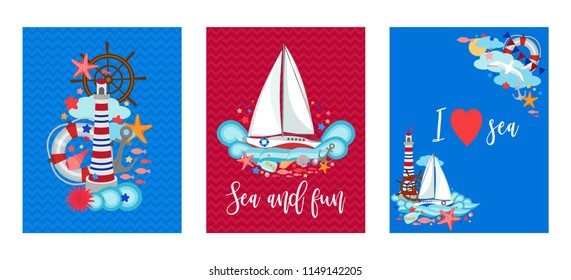 Marine cards sea nautical set, letter size, sailing trip, summer templates bright collection, theme design elements, symbols, signs, cartoon vector illustration for flyer, party invitation, poster.