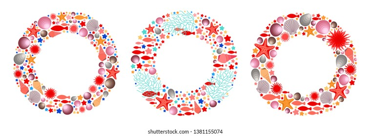 Marine circle frames set. Decorative round borders. Sea life objects. Ocean flora. Aquatic underwater animals. Clam shells. Seaweeds and corals. Sea anemone and star fish. For surface print design.