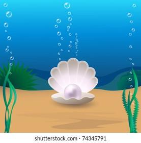 Marine cockleshell with a pearl on a sea-bottom