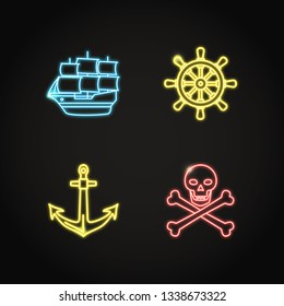 Marine collection of pirate and nautical icons in glowing neon style. Sea symbols set including pirate ship, anchor and steering wheel. Sea adventure concept elements.