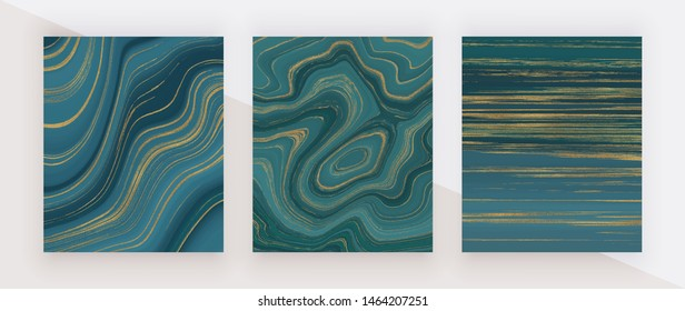 Marine color liquid marble texture. Blue and golden glitter ink painting abstract pattern. Trendy backgrounds for wallpaper, flyer, poster, card, invitations.