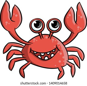 marine coral red crab  happy claws